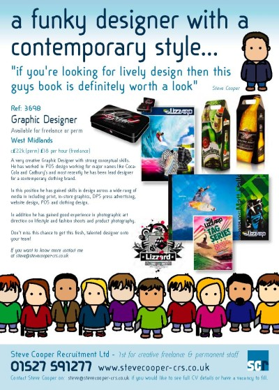 funky designer available creative job ad