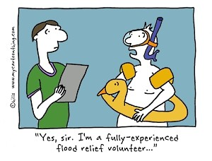 Flood volunteer cartoon