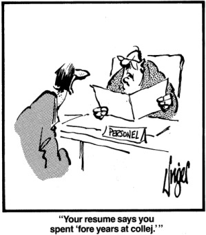 resume typo error cartoon