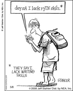 Texting writing skills cartoon
