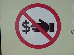 No money taking sign