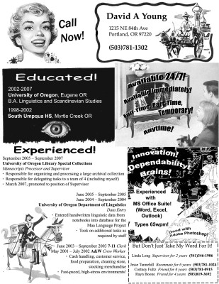 David Young 1950s advertising inspired resume