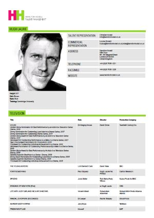 Hugh Laurie Actor Resume  Professional Acting Resume