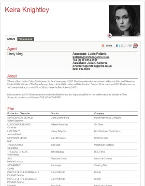Keira Knightley Actor Resume  Professional Actors Resume