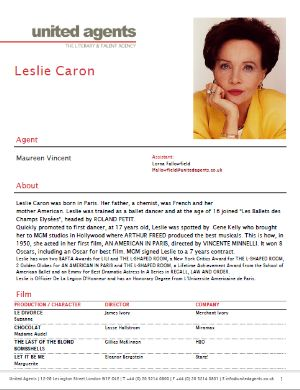 Leslie Caron Actor Resume  Resume For Acting