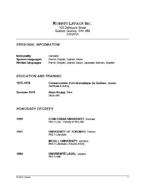 robert lepage actor resume