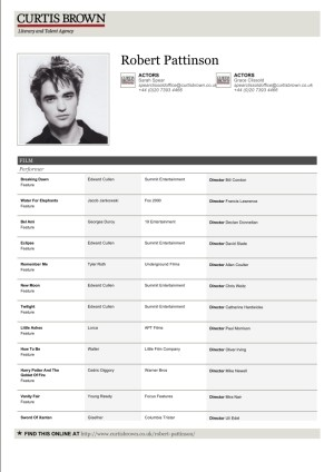 Robert Pattinson Actor Resume  Acting Resumes