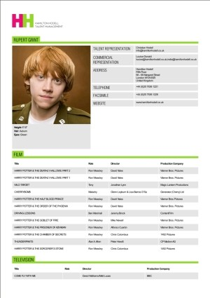 Rupert Grint Actor Resume  Acting Resume Template