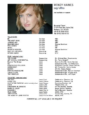 wendy haines actor resume resume for actors