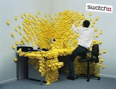 Swatch ad sticky note prank