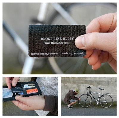 broke bike alley tire patch creative business card design