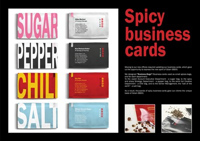 gitam bbdo spicy creative business card design