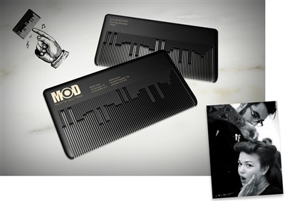 modhair musical comb creative business card design