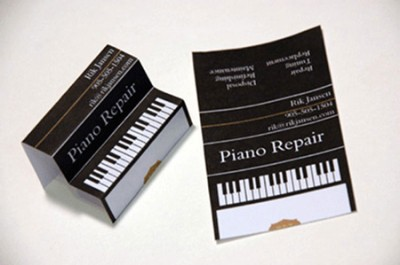 piano repair creative business card design