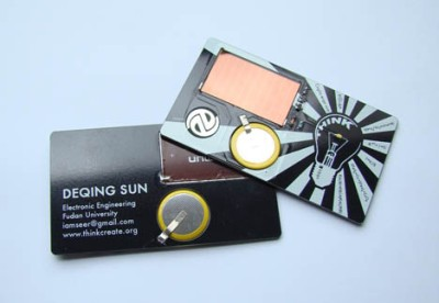 Solar flashlight business card design