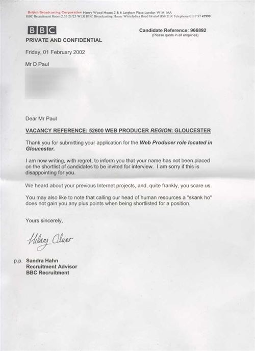 bbc rejection letter