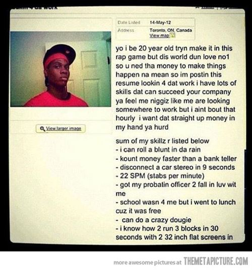 funny black man job application