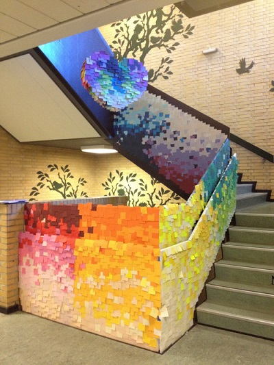 sticky note staircase