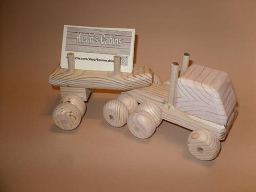 wooden toy truck business card holder