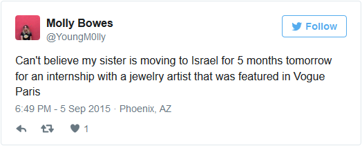 molly bowes israel internship jewelry artist tweet