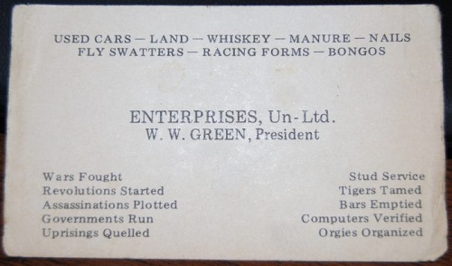 ww green business card