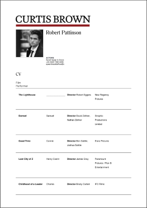 Robert Pattinson acting resume