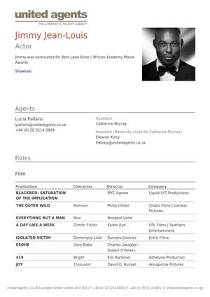 jimmy jean-louis acting resume