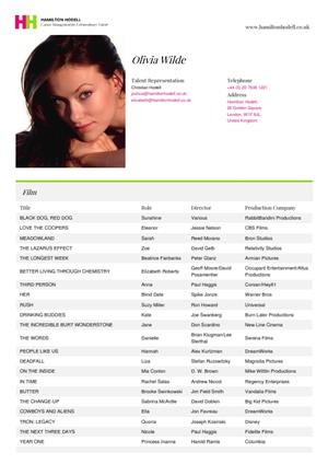 olivia wilde acting resume