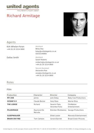 richard armitage acting resume