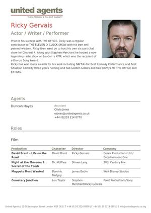 ricky gervais acting resume