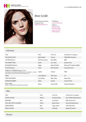 rose leslie acting resume