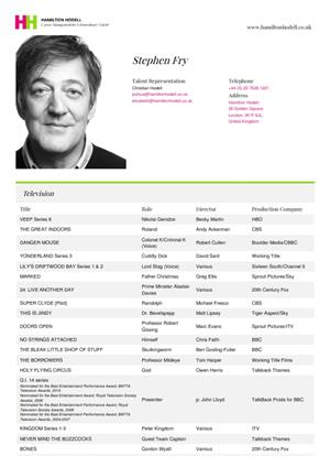 stephen fry acting resume