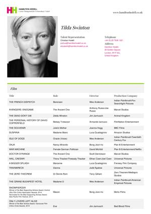 tilda swinton acting resume